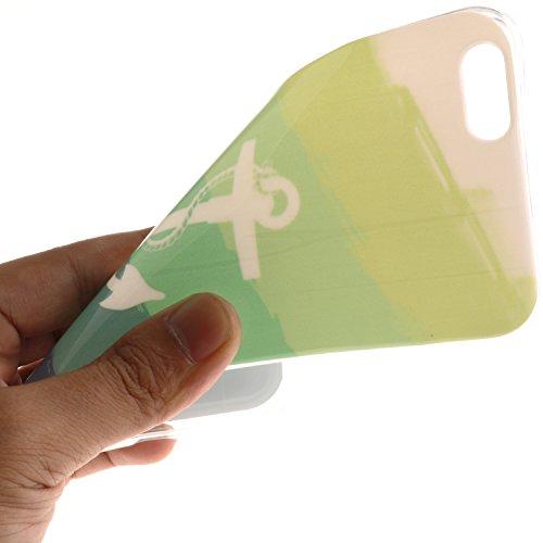 Coque iPhone 5S, Coque iPhone 5 Housse Etui, iPhone 5SE Silicone Transparent Case TPU Cover, BONROY® TPU Silicone Ultra Mince Souple motifs peints Bumper Cas Case Cover Coque Couverture Etui [absorban Vert lance Sea