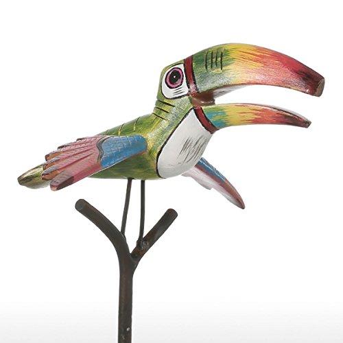 Pájaro Tropical Escultura en Resina de Fibra de Vidrio Ornamento Inte