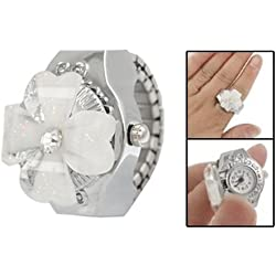 TOOGOO(R) White Clover Round Dial Finger Ring Quartz Watch For Lady