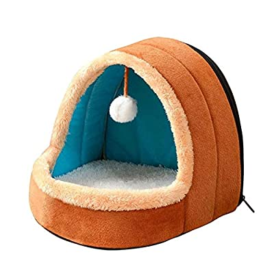 hhagg Pet Dog Cat Bed Puppy House with Toy Ball Warm Soft Pet Cushion Dog Kennel Cat Castle For Drop Shipping M Brown by hhagg