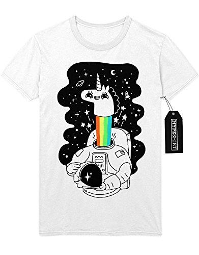 T-Shirt Einhorn Anstronaut Regenbogen Universium Weltall Sterne Saturn Rakete H970007 Weiß (Lady Kostüme Rainicorn)