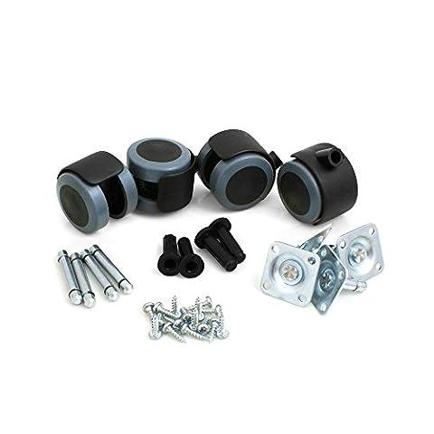 Design61 Rubber Castor Wheels Roulettes pour en caoutchouc pour sol dur Express Fittings Lot de 4 roulettes pour pied de meuble avec plaque de fixation