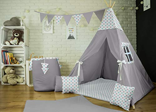 Me and You Tipi Spielzelt für Kinder Zelt Wigwam Kinderzelt Indianer mit 3 Kissen+Decke (Grau-Weiß-Türkis Sterne (52)) -