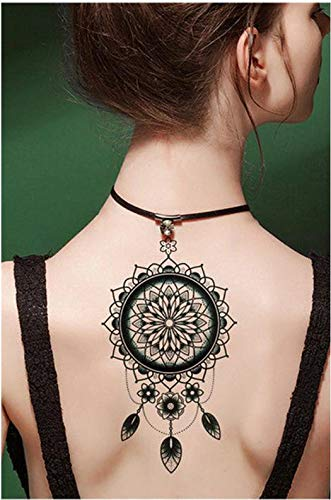 Tatuajes temporales para hombre y mujer, diseño de mandala con plumas, 21 x 15 cm