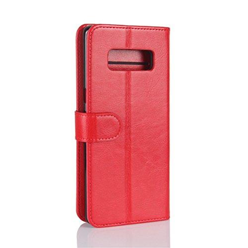 Galaxy Note 8 Étui portefeuille, Lifetrut Housse en cuir de luxe en cuir PU Flip Magnetic Stand pour Samsung Galaxy Note 8 [Noir] E203-Rouge