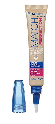 Rimmel London Match Perfection 2-in-1 Skin Tone Adapting Concealer & Highlighter, 1 Ivory, 7 ml