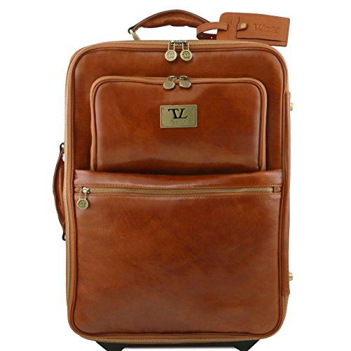 Tuscany Leather TL Voyager Trolley vertical en piel con dos ruedas Miel