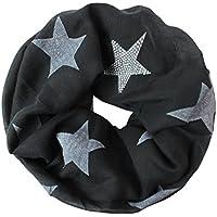 Glamexx24 Loop bufanda encendedor bufanda larga estrella patrón tubo bufanda tela rhinestone Muchos colores