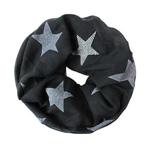 Glamexx24 Loop schal leichter Langschal Sterne Muster Schlauchschal Strass Tuch Viele Farben SC20170401, Schwarz, Einheitsgröße