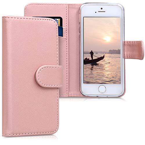 kwmobile Apple iPhone SE / 5 / 5S Hülle - Kunstleder Wallet Case für Apple iPhone SE / 5 / 5S mit Kartenfächern und Stand