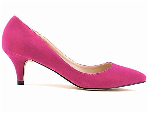 Couleur Mariage Soirée Rose Cm Chaussure 6 Uni Aiguille Escarpins Wealsex  Talon Moyen Rouge Pointu De b54474f45e6f