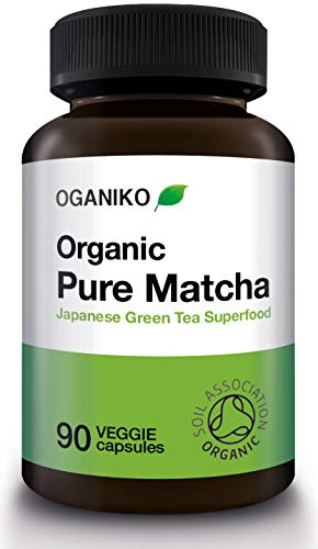 Organic 100% Pure Matcha Green Tea Supplement from Japan - A Powerful Antioxidant Green Tea Extract Energy Booster - 90 Easy-to-Swallow Vegan Capsules