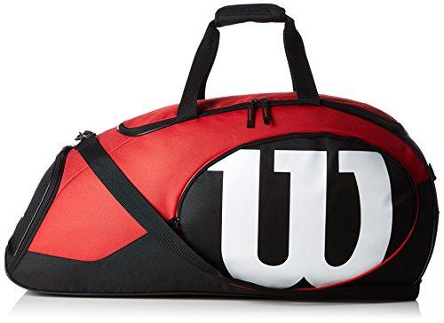 Wilson Damen/Herren-Tennistasche, Für Freizeitspieler, Match II Duffel, Einheitsgröße, schwarz/rot, - Junior-mädchen-golf-schuhe