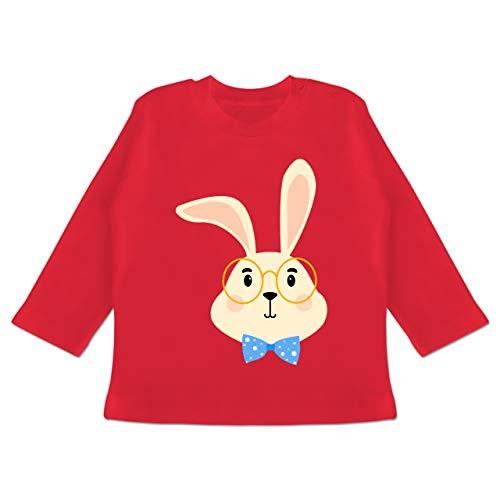 Tiermotive Baby - Süßer Hase mit Brille und Fliege - 6-12 Monate - Rot - BZ11 - Baby T-Shirt Langarm