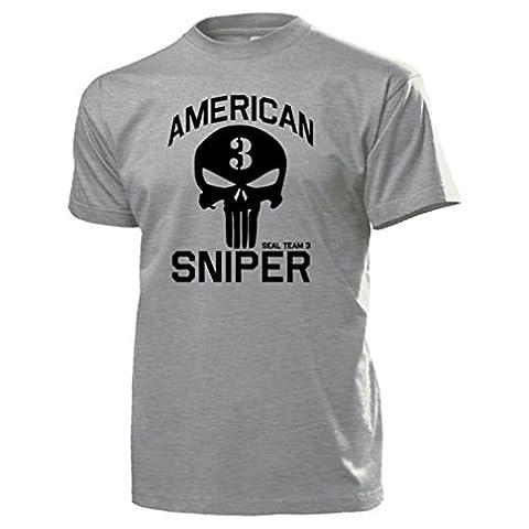 American sniper chris kyle sniper navy seal team 3 irakkrieg seals texas uS militaire held vétéran des états-unis d'amérique army shirt logo skull t#15936 - Gris -