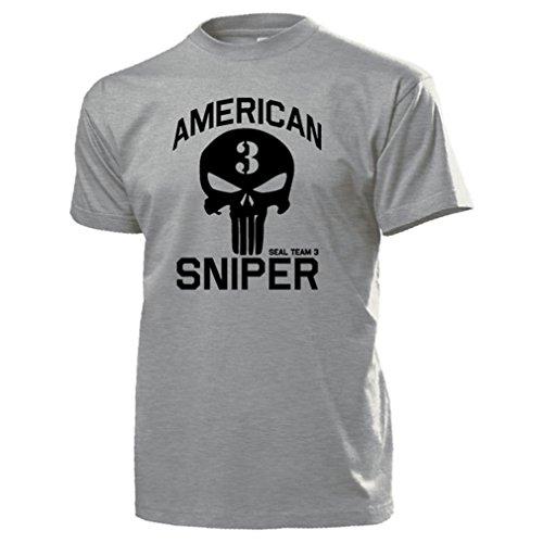 American Sniper Chris Kyle Scharfschütze Navy Seal Team 3 US Irakkrieg Seals Texas Held Militär Veteran USA Amerika Army Schädel Logo - T Shirt #15936 (Grau T-shirt Logo Army)