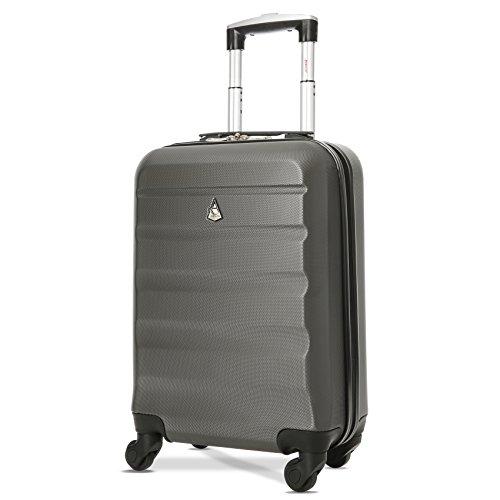 Aerolite Leichtgewicht ABS Hartschale 4 Rollen Handgepäck Trolley Koffer Bordgepäck Kabinentrolley Reisekoffer Gepäck, Genehmigt für Ryanair, easyJet, Lufthansa und viele mehr 3 Teilig Kohlegrau - 2