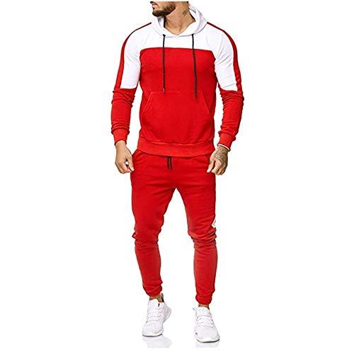 Herren Herbst Sweatshirt Tops Hosen Sets Sportanzug Patchwork Trainingsanzug Bluse(rot,XXXL)