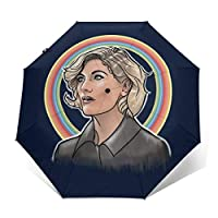 Jodie Christmas Doctor Who Windproof Compact Auto Open and Close Folding Umbrella,Automatic Foldable Travel Parasol Umbrella