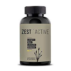 VERGLEICHSSIEGER 2020 bei ARGININ.DE: L-Arginin Base plus Citrullin (entspr. 2.400mg Arginin HCL) plus Maca Extrakt 680mg (entspr. 34.gr Maca Pulver) HOCHDOSIERT & Cordyceps sinensis – zest'active