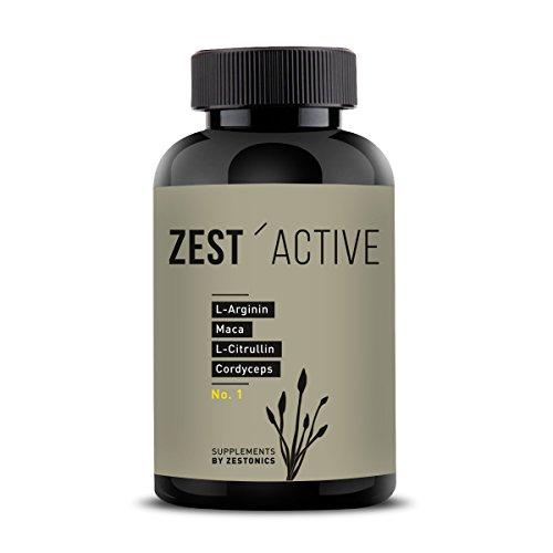 VERGLEICHSSIEGER 2019 bei ARGININ.DE: L-Arginin Base plus Citrullin (entspr. 2.400mg Arginin HCL) plus Maca Extrakt 680mg (entspr. 34.gr Maca Pulver) HOCHDOSIERT & Cordyceps sinensis - zest\'active