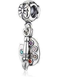Romántico Amor Artist's Palette Charm with Paintbrush Colorful Simulated Birthstone Silver Beads for Pandora Bracelets