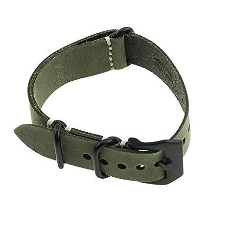 Crazy Horse Leder Ruggedly Hand Jagdlinie Länge Armband dunkelgrün verrückt Pferd schwarz Verschluss 22mm