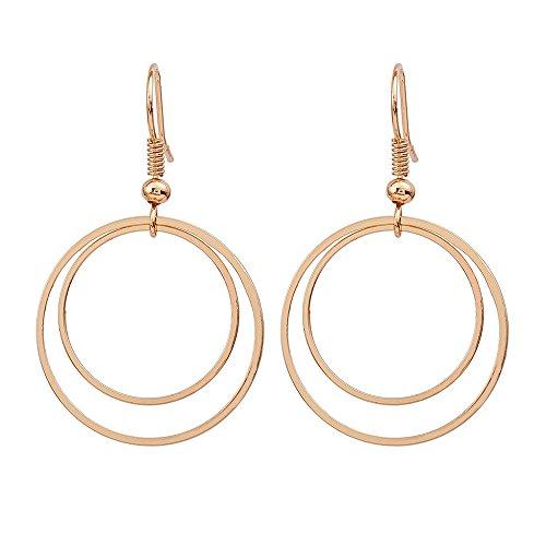 Lialbert Minimalistische Ohrringe Damen Doppelkreis Creolen Gold/Silber, MäDchen Ohrstecker Elegante Geometrische Schmuck Geschenk