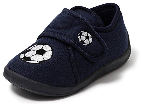 Kinder Hausschuhe Kinderschuhe Jungenschuhe Slipper Schuhe Softschuhe Freizeitschuhe Klettschuhe Kletter Klettverschluss navy blau FUSSBALL Gr. 26 - 29 (26)
