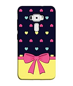 PrintVisa Designer Back Case Cover for Asus Zenfone 3 ZE552KL (5 inches) (Hearts Coloured Ribbon Pattern Gifting)