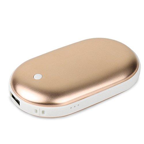 Powerbank Handwärmer Fxexblin 5200mAh 2 in 1 Double-Side Heizung Taschenwärmer Tragbare USB-Ladegerät Power Bank (Luxus-Gold)