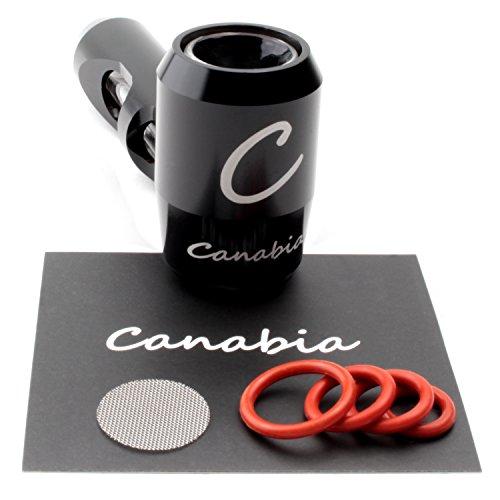 Canabia Metal Pipe - Steamroller - Kräuter und Tabak-Pfeife - Aluminium Exoskelett mit Glasrohrführung - Im tragbaren Design - Metallpfeife - Glaspfeife - Tabakpfeife (Schwarz)