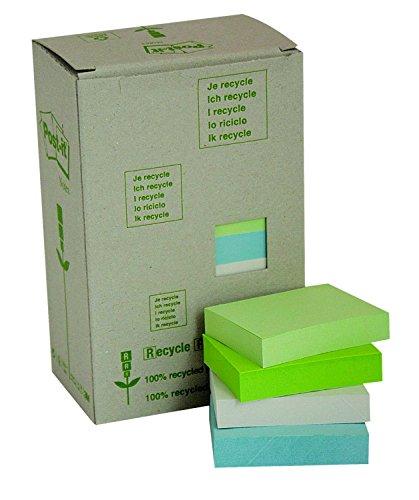 Post-it 653-1RPT Haftnotiz Recycling Pastell Rainbow Notes Tower (38 x 51 mm, 80 g) 100 Blatt á 24 Block Tower 24
