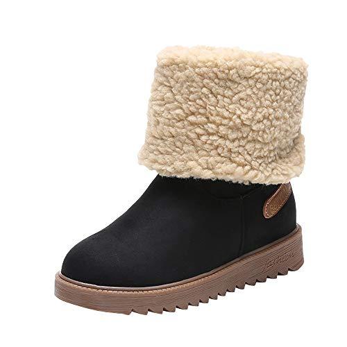 FeiBeauty Frauen Winter warme Kurze Stiefel Baumwolle Schuhe Stiefel Snow Boots Short Bootie Skisichere Schuhe Winterstiefel Warm Gefüttert Flandell Schwarz Braun 35-39