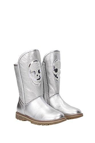 WM13SG960008ARGENTO Philipp Plein Stiefeletten Kind Leder Silber Silber
