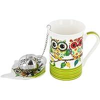Set da tè in ceramica coppia di gufi gufo tazza