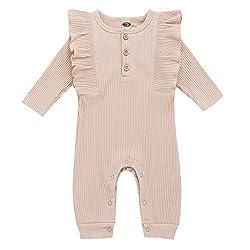 Livoral Neugeborener Babyoverall, gekräuselter Overall des einfarbigen Knopfes des Babys und des Mädchens(Khaki,0-6 Monate)