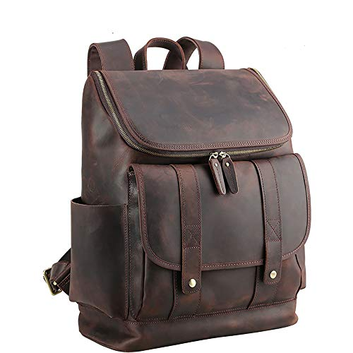 YαYα Vintage Leder Herren Rucksack große Kapazität 15,6