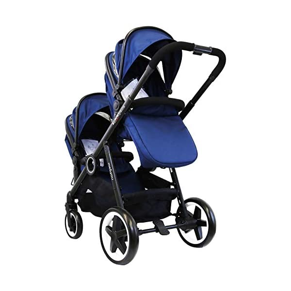 iSafe Me&You Inline Tandem Travel System with Second Seat & Rain Cover - Royal Blue iSafe Sleek & Eye Catching Matte Black Chassis, Weighing Only 16Kgs Easy One Second Fold, For Those Parents On The Go Soft Grip Extendable 3 Height Handle, To Suit Parents Of Any Height 1