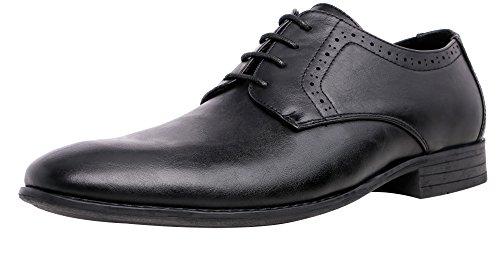 SHENBO Men's Classic Black Oxford Lace-ups Dress Shoes (8, black)