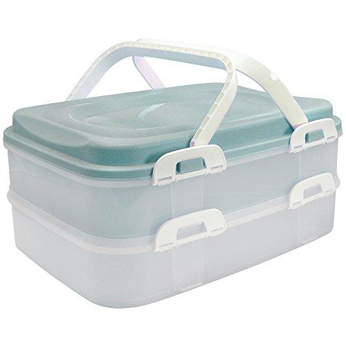 ainer Transport-Box, Kuchenbehälter und Lebensmittelbox mit 2 Etagen und Hebeeinsatz, in türkis Pastell (001 Stück - türkis Pastell) ()