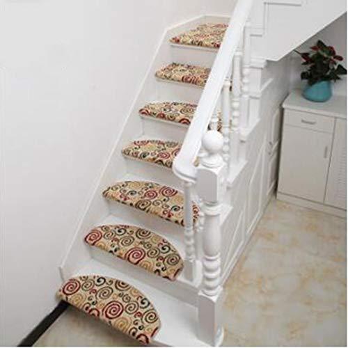 KY&CL Tapis d'escalier en Bois Massif, Non Slip Tapis escalier marches, Convient pour escalier, Salon, Foyer, Chambre à Coucher, etc (25,6 Pouces x 9,4 Pouces),A,5PCS65*24cm