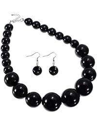 Jerollin mujer Ladies Vintage resina colgante cadena de collar de perlas collar gargantilla moda babero collar y pendientes juego de joyería