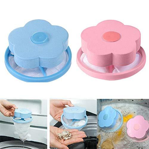 YunHui 4 Stück Blumentyp Waschmaschine Floating Fusseln Netzbeutel Haarfilter Netztasche Schwimmende Waschmaschine Filter Waschmaschine Fusselfalle Blau & Pink