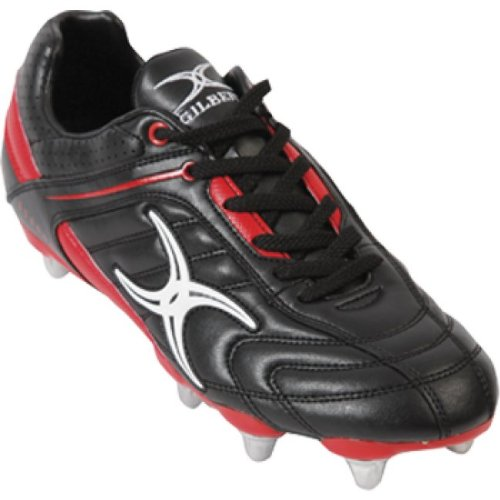 Gilbert Sidestep Barbarian 6 Stud Chaussures de Rugby Pour Enfant, Noir/Rouge, 37