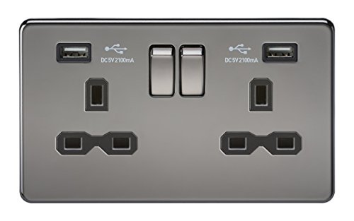 Knightsbridge SFR9902BN 13 A 2G Screw Less Nickel Switched Socket with Insert and Dual USB Charger - Black by Knightsbridge -