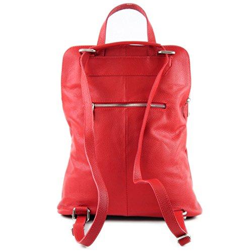modamoda de - ital. Lederrucksack Damen Rucksack 3in1 Rucksacktasche Citytasche T141 Rot