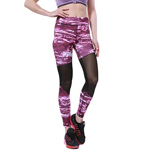 SHUBIHU Damen Yogahose Pilates Gedruckte Siebnähte Hosen Für Fitness Sporthosen Hosen Jogginghose Neu 2019 (Lila, M) -