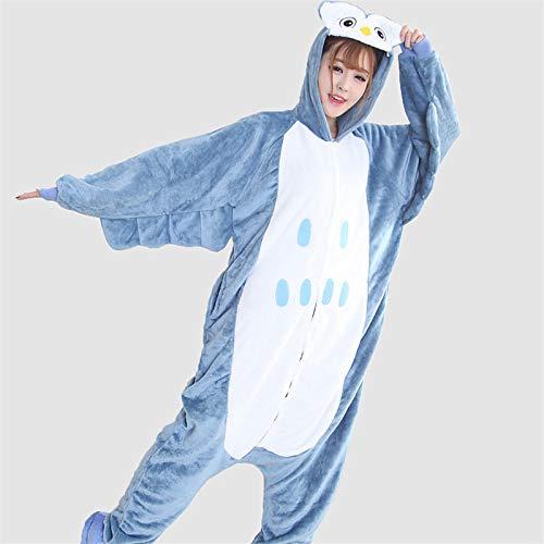 DUKUNKUN Erwachsene Pyjamas Owl Pyjamas Kostüm Flanell Blau Cosplay Für Tier Nachtwäsche Cartoon Halloween Festival/Urlaub,M