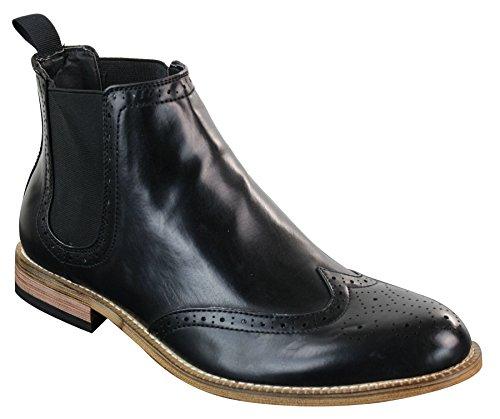 Herrenschuhe Glänzend PU Leder Schwarz Slip On Retro Vintage Design Schwarz
